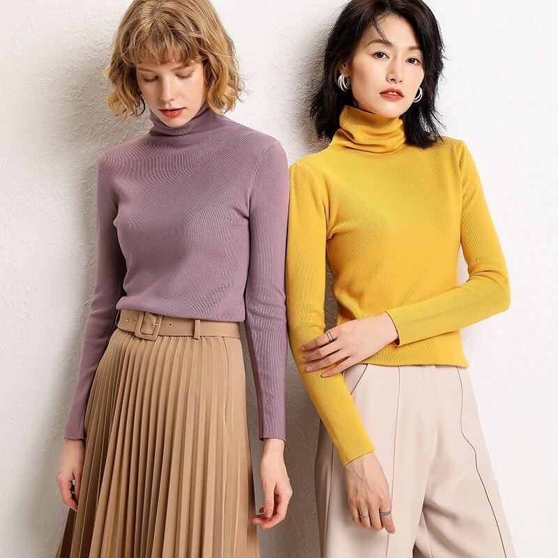 2019 nouveau col haut pull femme Slim tricot couleur unie bottoming chemise ensemble automne et hiver pull court