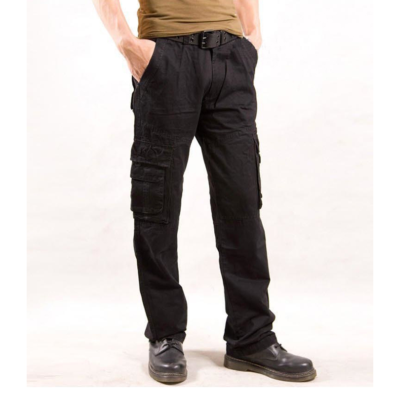 Cargo Pants Mens Cotton Military Multi-pockets Baggy Men Casual Trousers Overalls Army Joggers