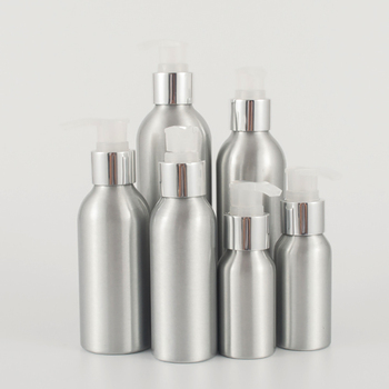 100pcs/lot empty 100ml aluminum cometic packaging cream bottles with Electrochemical aluminum screw pump