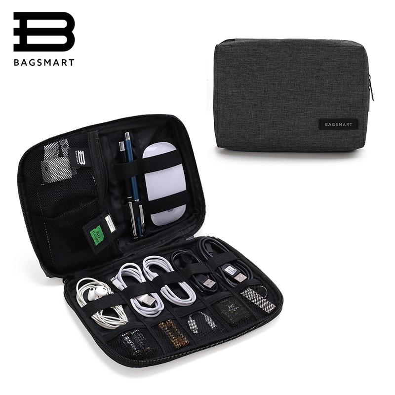 Accesorios electrónicos BAGSMART Organizadores de embalaje para auriculares USB tarjeta SD cargador Cable de datos bolsa de viaje paquete maleta funda