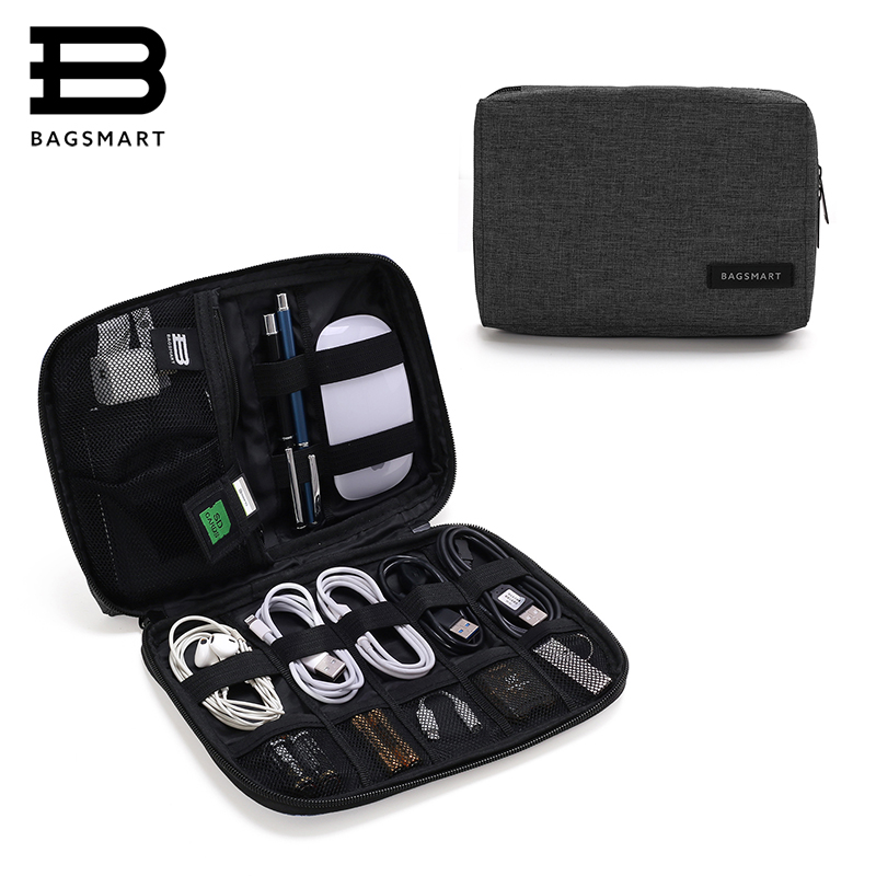 BAGSMART accesorios electrónicos embalaje organizadores para auriculares tarjeta SD USB cargador Cable de datos bolsa de viaje maleta