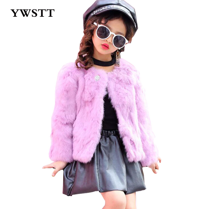 2017 Children Real Rabbit Fur Coat Kids Girls Winter Warm Fashion Candy Color Natural 100% Rabbit Fur Coat Jacket for Girls children real crystal fox fur coat 2017 new autumn winter girls boys natural fur coat clothing warm kids thicken jacket