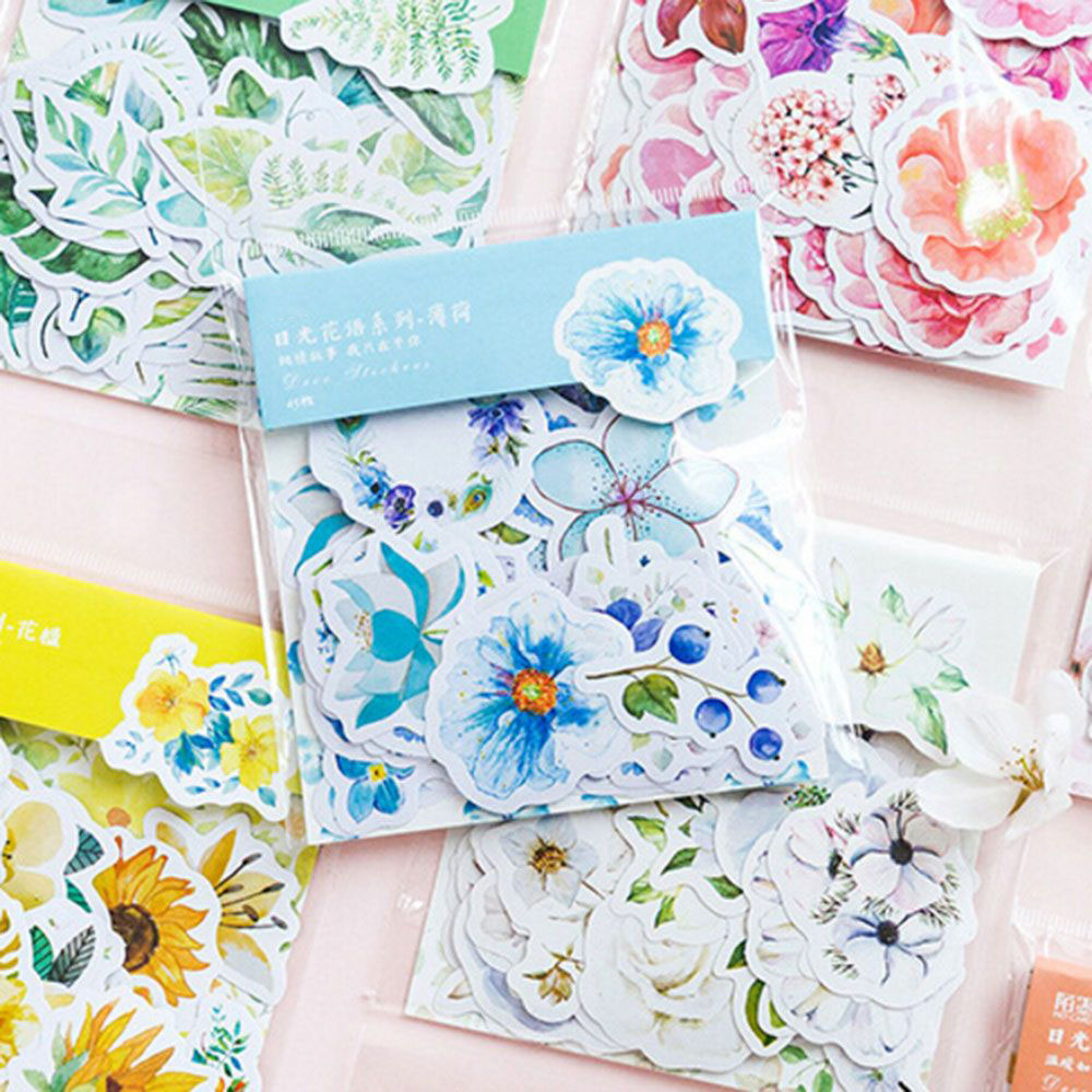 45 Pcs/Pack Cute Japanese Style Decoracion Journal  Diary Flower &Plant Stickers Scrapbooking Flakes Stationery School Supplies
