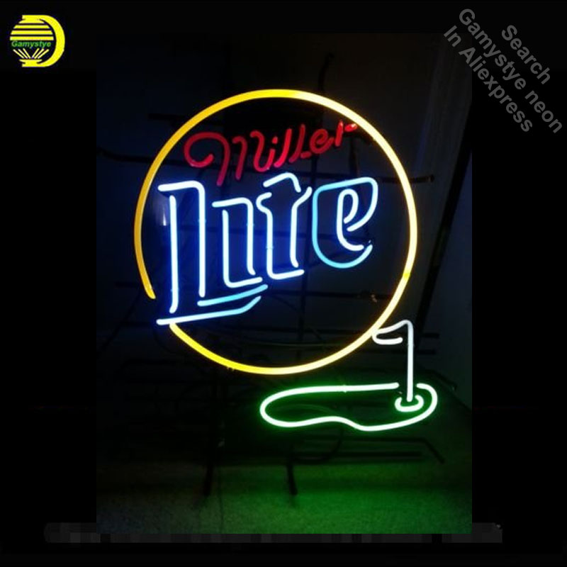 Neon Sign for Miller Light Golf with Flag Neon Bulb sign handcraft Real Glass tubes Decorate windows sign Hotel Beer Bar pub
