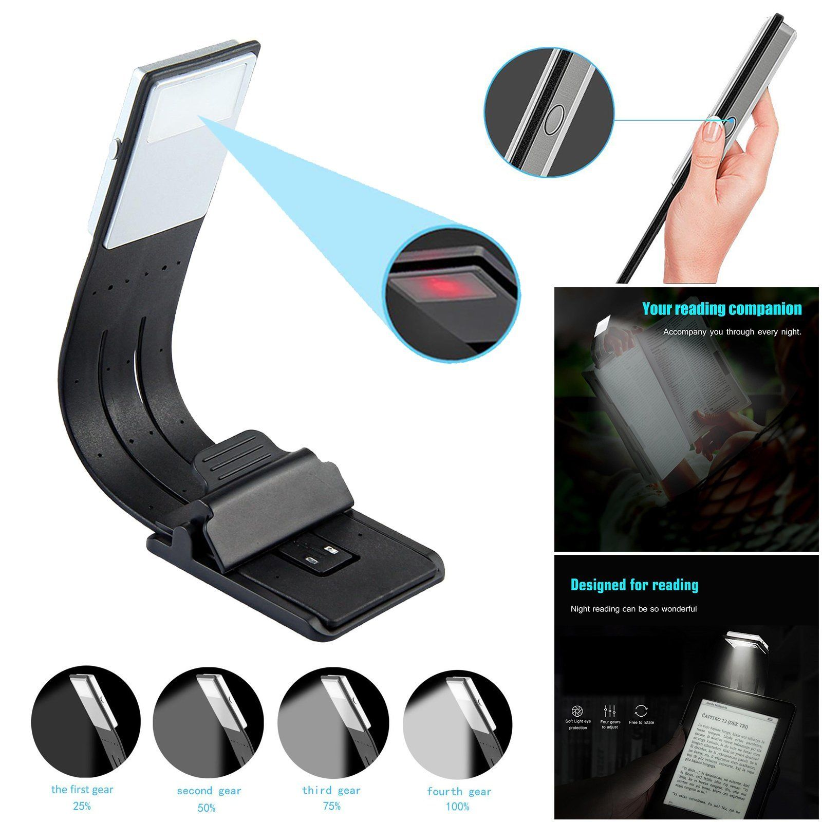 Hot 2 Modes 8LM Flexible LED Reading Light Stand Clip On Book Desk Rechargeable Lamp Gift