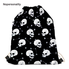 Nopersonality Printing Schoolbag Black Skull Drawstring Bag for Women Lightweight Child Kids Backpack Travel Storage Bags