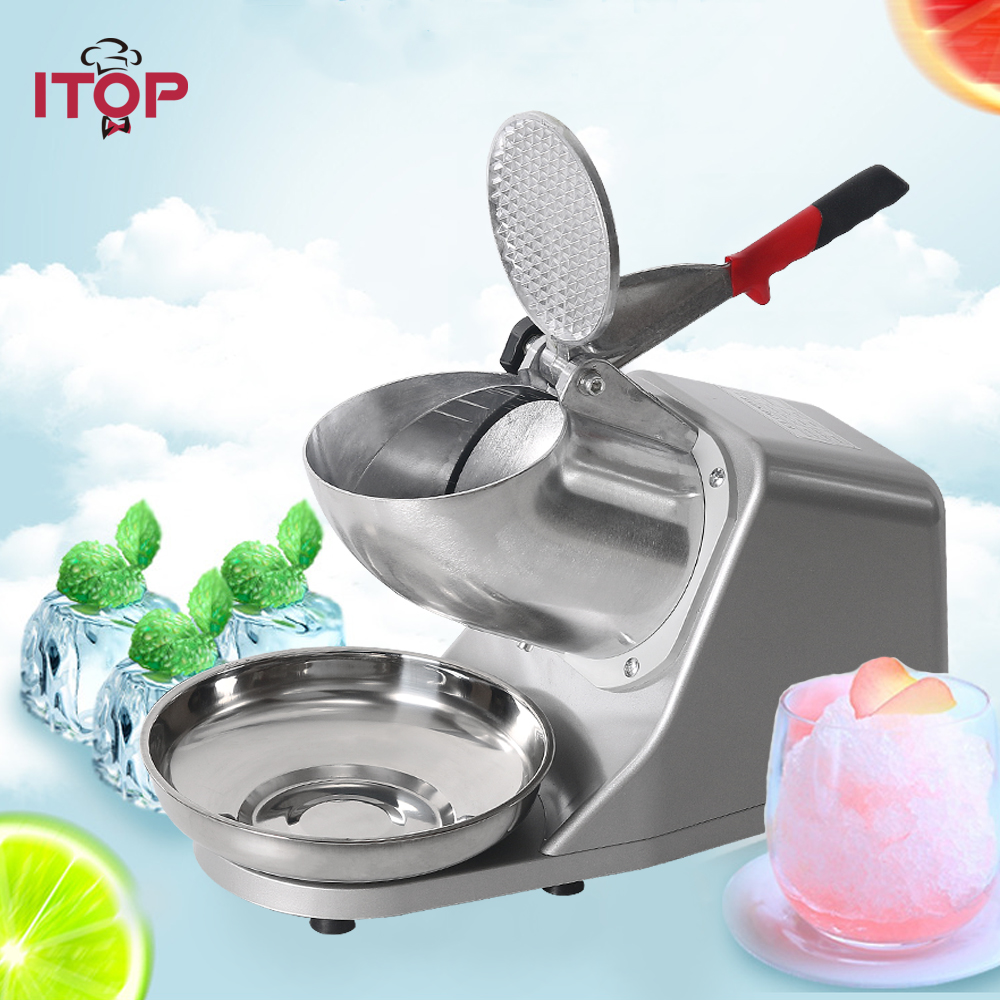 ITOP Commercial Ice Crusher Shaver Machine, Ice Smoothies Maker Ice Block Snow Cone Stainless Steel Bowl Machine 65kg/h ice crusher summer sweetmeats sweet ice food making machine manual fruit ice shaver machine zf