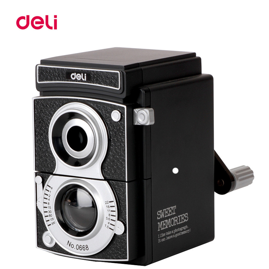 Deli Stationery Retro Camera Pencil Sharpener 7-12mm Mechanical Pencil Sharpener Office School Supplies Manual Pencil Sharpener deli stationery pencil sharpener mechanical cartoon kawaii pencil sharpener cute pencil sharpener office & school supplies