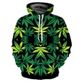 2016 Unisex Homens Mulheres 3D Folhas Verdes Impresso Bolso Crewneck Pullover Casal Combinando Roupas de Hip Hop Do Punk Vento Com Capuz Moletom Com Capuz