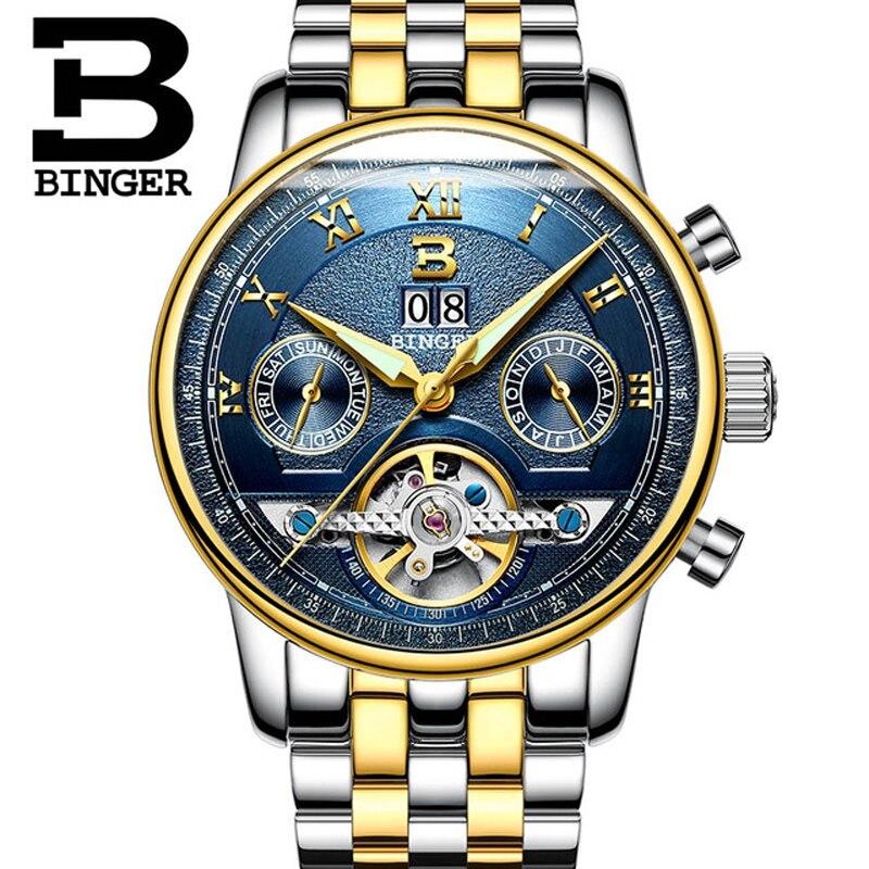 Switzerland BINGER Watch Men Luxury Brand Automatic Mechanical Men Watches Sapphire relogio masculino Luminous Waterproof
