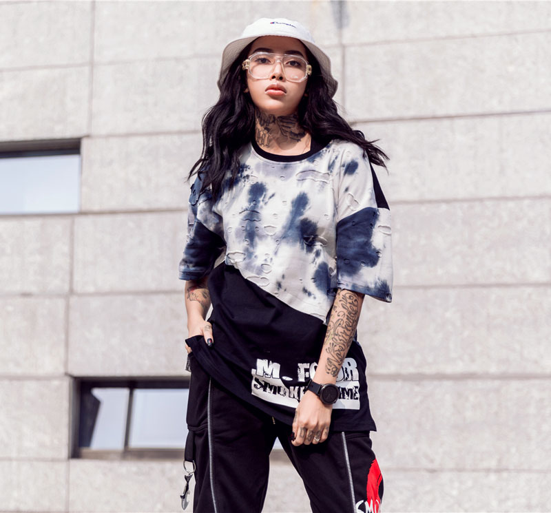 Tie Dye Ripped Patchwork T Shirts 3