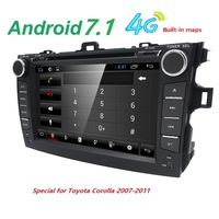 android 7.1 car dvd player for Toyota corolla 2007 2008 2009 2010 2011 in dash 2 din 1024*600 car dvd gps navigation in dash gps