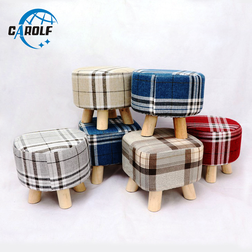 modern 4 feet soft square solid wood footstool ottoman pouffe chair stool with fabric cover colorful