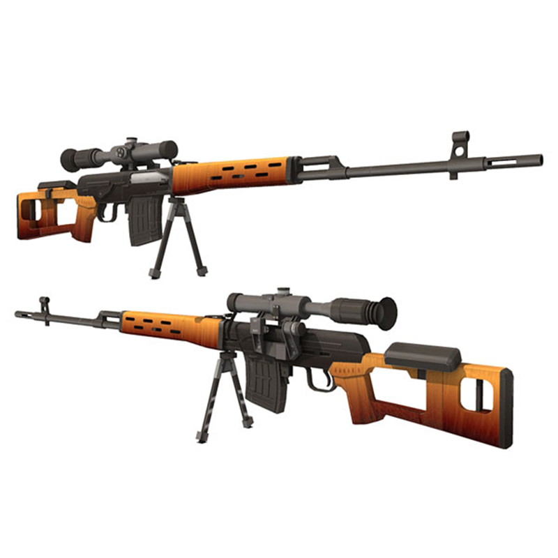 DIY 1:1 Dragunov Sniper Rifle SVD Paper Model Assemble Hand Work 3D Puzzle Game Kids Toy