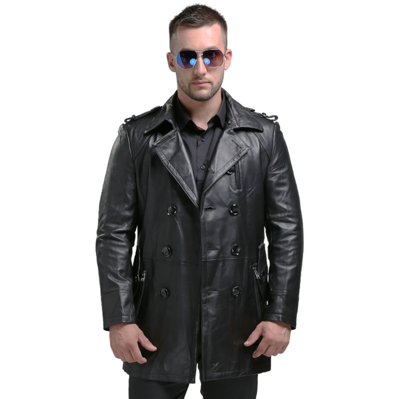 AIBIANOCEL Casual Style Long Hommes de Véritable Veste En Cuir Mens Veste En Cuir Véritable Manteau En Peau de Mouton En Cuir Véritable Manteau Hommes 1620