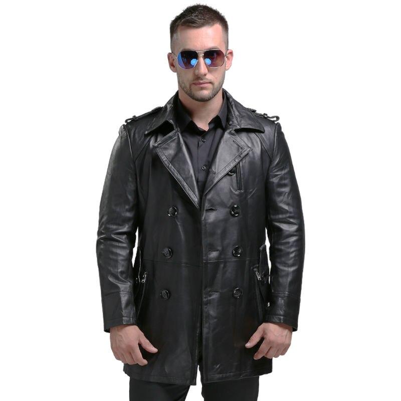 Aibianocel estilo largo ocasional hombres Cuero auténtico chaqueta para hombre de la chaqueta de cuero real oveja Cuero auténtico hombres de la capa 1620