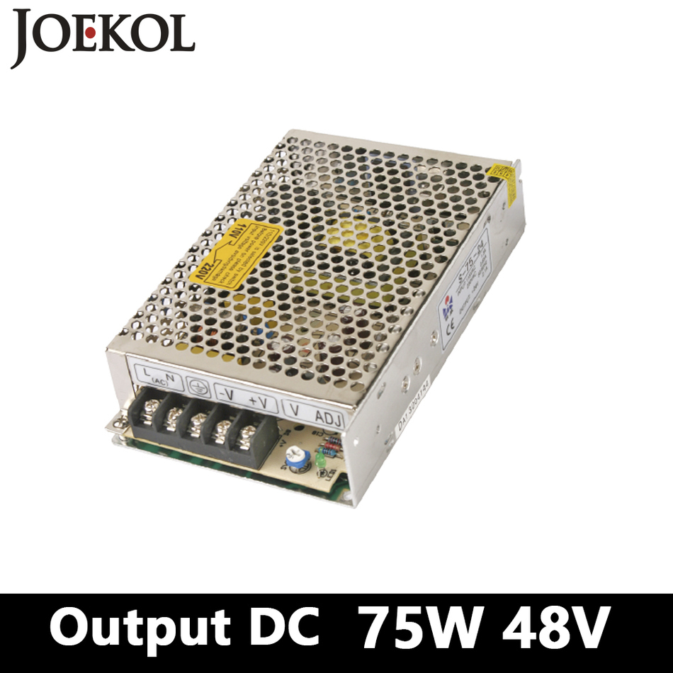 switching power supply,75W 48v 1.5A Single Output ac-dc power supply for Led Strip,AC110V/220V Transformer to DC 48V,led driver ac 85v 265v to 20 38v 600ma power supply driver adapter for led light lamp