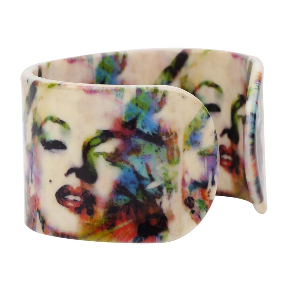 Bonsny Izjava akrilni široki seksi Marilyn Monroe uzorak narukvice - Modni nakit - Foto 4