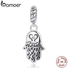 BAMOER 925 Sterling Silver Lucky Hamsa Hand Pendants Charm fit Bracelet & Necklace for Women New Collection SCC031(China)