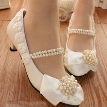 White Lace Bowtie Pearls Women Wedding Shoes Pearls Bandage Ladies Party Shoes Sexy Pointed Toes Size EU34-40