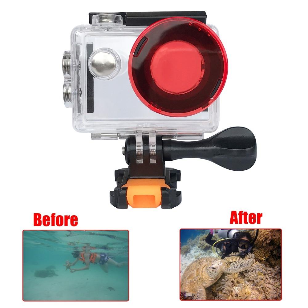 Rot Tauchen Filter für h9 h9r h8r v8 h3r w9s w9 kamera Wasserdicht Fall Rot  Filter Objektivdeckel Für H9 kamera Zubehör