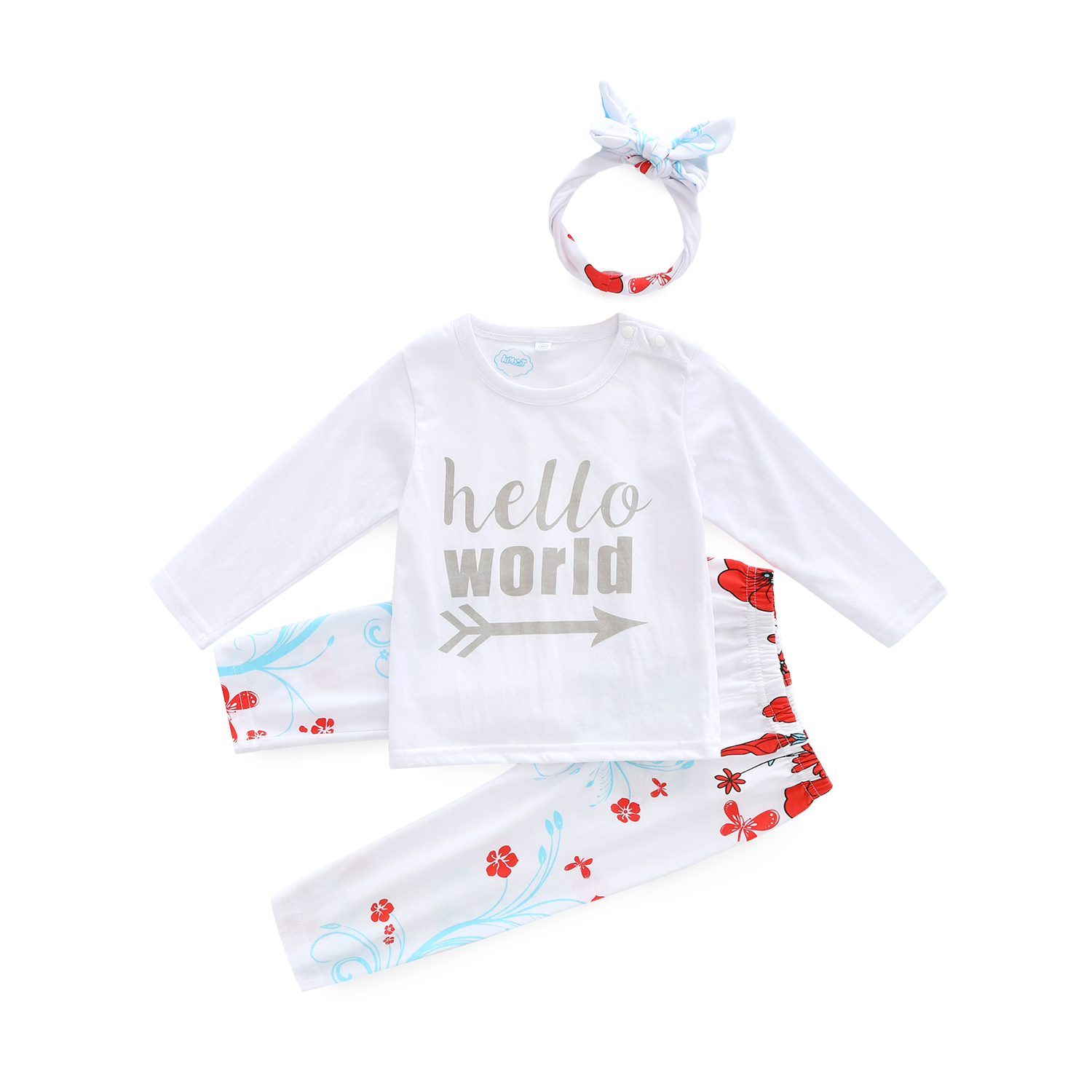Foral baby girl clothes newborn clothing set newborn clothes hello world printed t-shirt with pants and free headband 3pcs/set