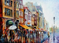 beautiful Painting Home Decor amsterdams rain Colorful oil paintings Canvas Abstract Modern Fine Art High quality Handmade