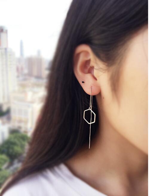 Jisensp New Fashion Statement Jewelry Earrings Geometric Hexagon Stud Earrings for Women Long Chain Earings Accessories