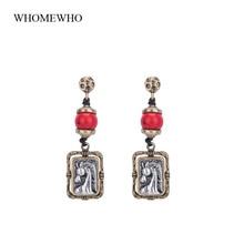 USA Western Cowgirl Two Tone Embossed Horse Head Animal Drop Earring Handmade Cord Women Jewelry