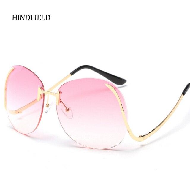 New Oversized Round Rimless Sunglasses Women Fashion Optics Big Metal Frame Sun Glasses Elegant Female Myopia UV400 i5lCV