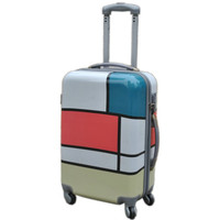 KUNDUI women suitcase bag, travel trolley case, new style, square grid block decoration color block picture girl luggage Bags