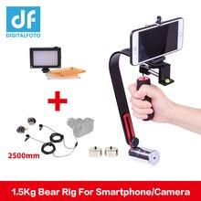 DIGITALFOTO DSLR kamera steadicam 5D2 Video Smartphone Cep Sabitleyici steadycam led ışık Mikrofon için Nikon Canon Iphone