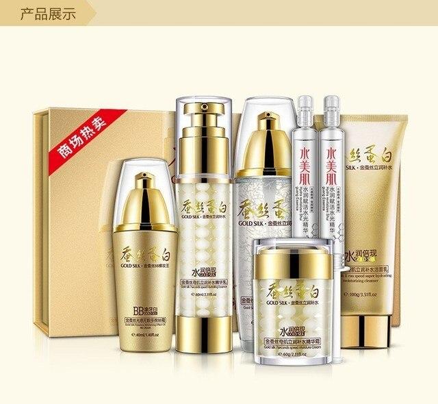 Un resorte hidratante cosméticos cuidado de la piel Facial Set oro seda Skimmer siete brillo cutis