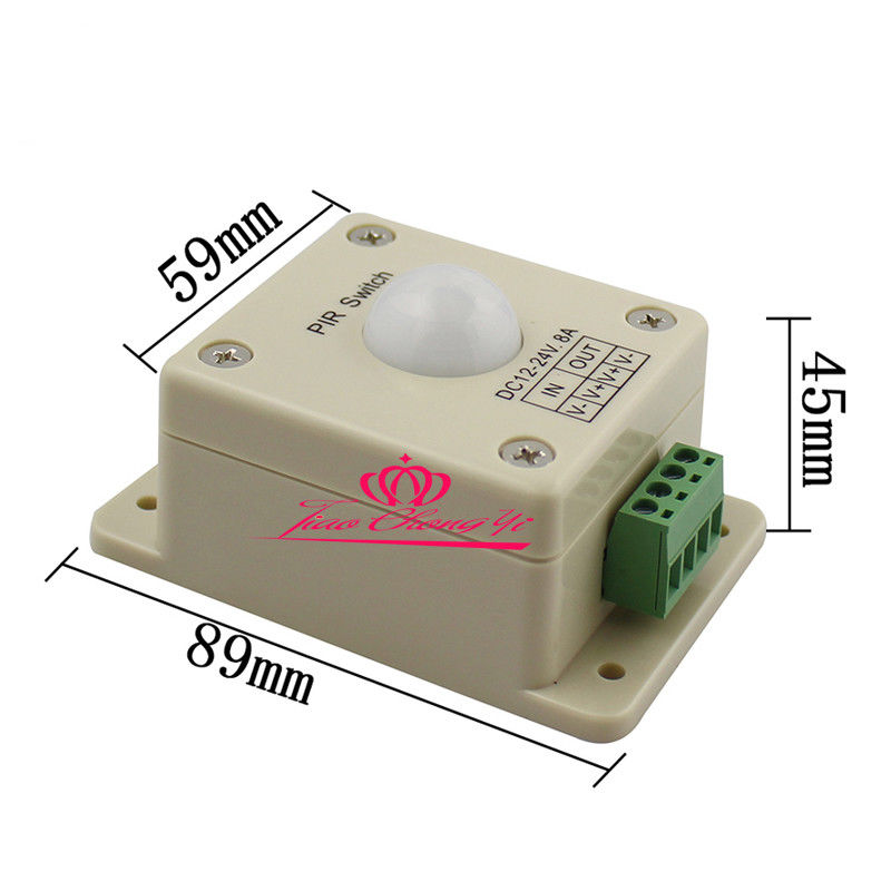DC12V 24V 8A Automatic Infrared PIR Motion Sensor Switch For LED Strip Light automatic dc 12v 24v 8a infrared pir movement sensor switch for led light