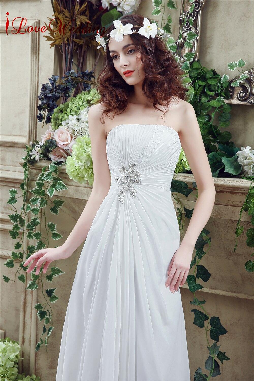 Vintage rochii de mireasa ieftine fara bretele Chiffon simple rochii - Rochii de mireasa - Fotografie 4