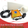 FULL SET LCD Booster High Gain Dual Band Mobile Phone 2G 3G Signal Booster GSM 900 mhz W-CDMA 2100 mhz Signal Repeater Amplifier