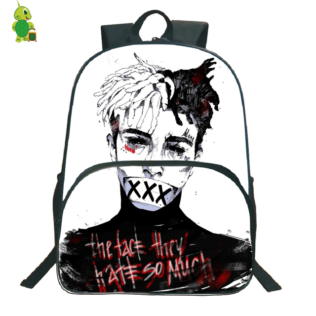 Por Rer Xtentacion Backpack School Bags For Agers Students Large Capacity Book Women Men Daily