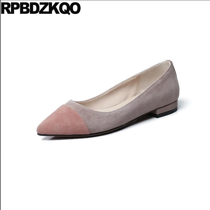 Women Designer Shoes China Suede Pink Size 33 Flats Latest Gray Slip On Beautiful 2018 Genuine Leather Pointed Toe Patchwork bow elastic round toe women slip on latest suede flats big designer shoes china chinese fashion beautiful european drop shipping
