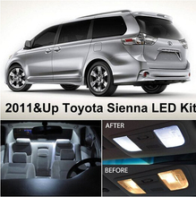 Free Shipping 11Pcs/Lot Xenon White Premium Package Kit LED Interior Lights For Toyota Sienna 2011 & Up 9pcs error free xenon white premium led full reading light kit for 2007 2011 toyota yaris installation tool with 5630 smd