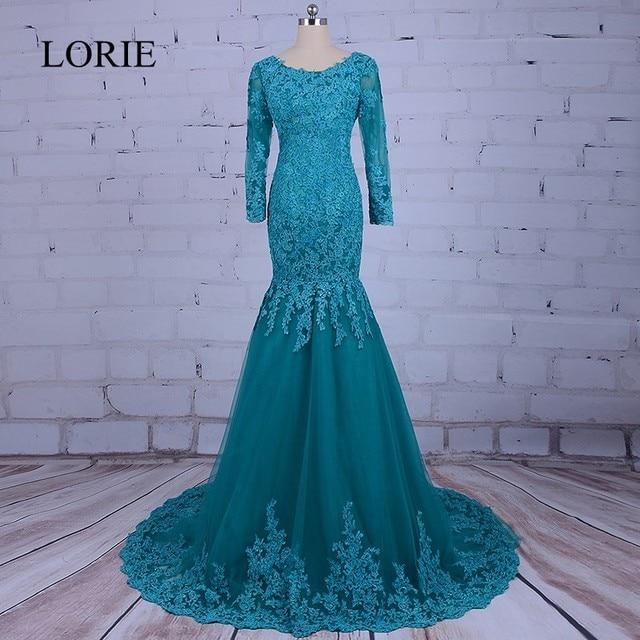 Arabic Women Mermaid Evening Dresses 2018 LORIE Long Sleeve Prom Dress Robe  de soiree Plus Size Elegant Dubai Formal Party Gowns 42aa70780464