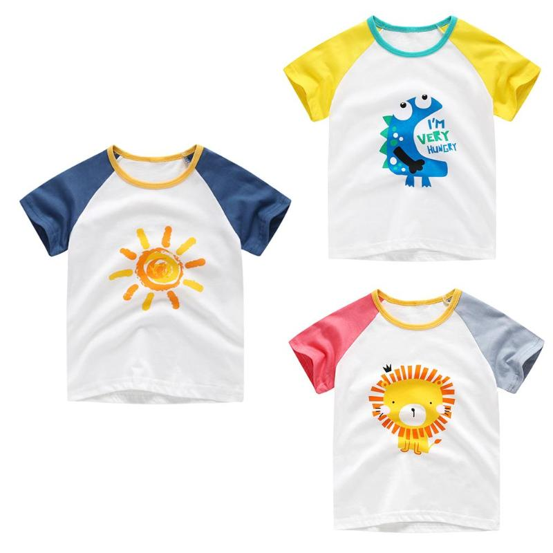 Tops Kids T-Shirts Print Girls Baby Boys Cotton Cartoon Summer Children Tees Round-Neck