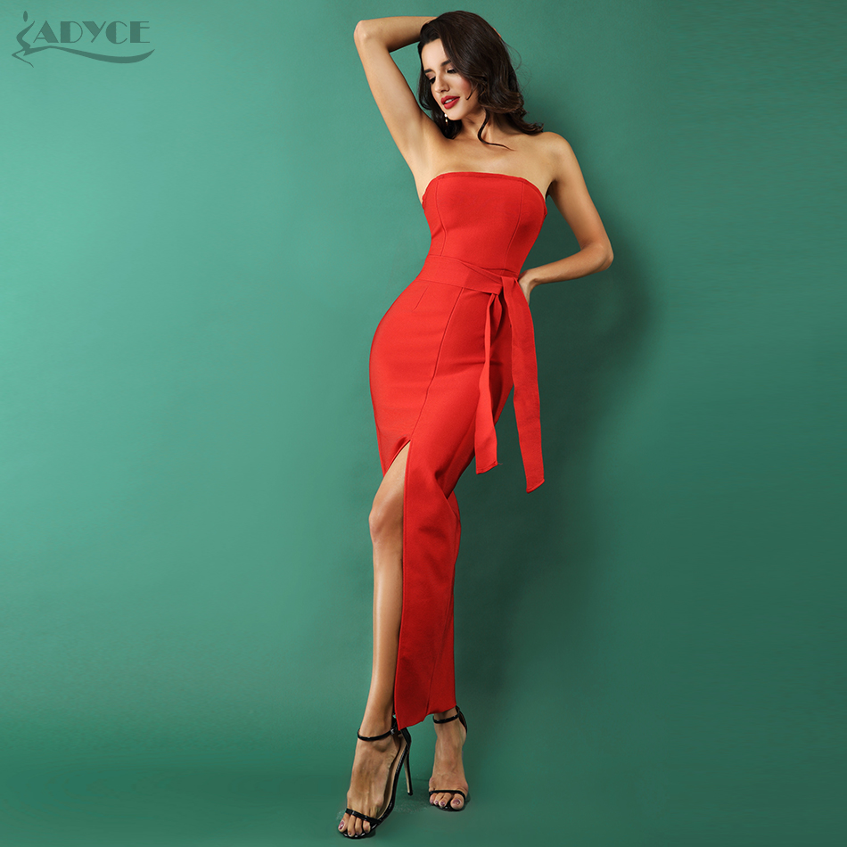 Adyce Red Bodycon Celebrity Party Dress Women 2019 New Summer Sexy Split Strapless Bow Sleeveless Long