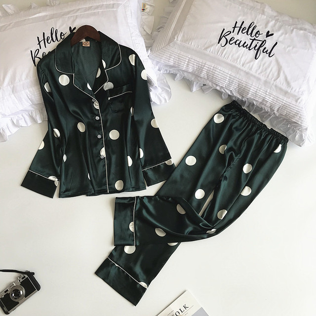 Lisacmvpnel Autumn Printing Pattern Women Pajamas Rayon Sleepwear Long Section 2 Pcs Pajama Set
