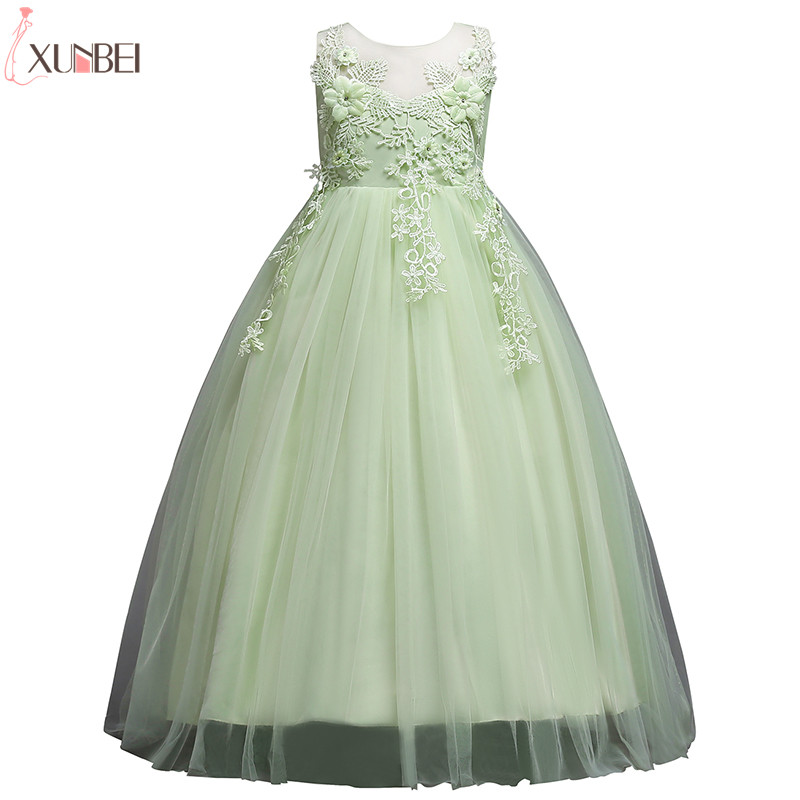 Lovely Flower Girl Dresses Lace 2019 Appliqued Ball Gown Pageant Dresses For Girls First Communion Dresses Kids Prom Dresses