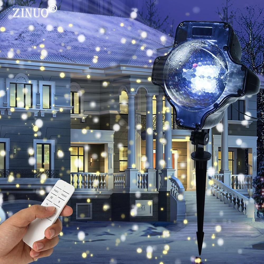 ZINUO Fiocco Di Neve di Natale Luce Laser Nevicata Proiettore IP65 In Movimento Da Neve Esterna Giardino Lampada Del Proiettore Laser Per Il Partito Nuovo Anno