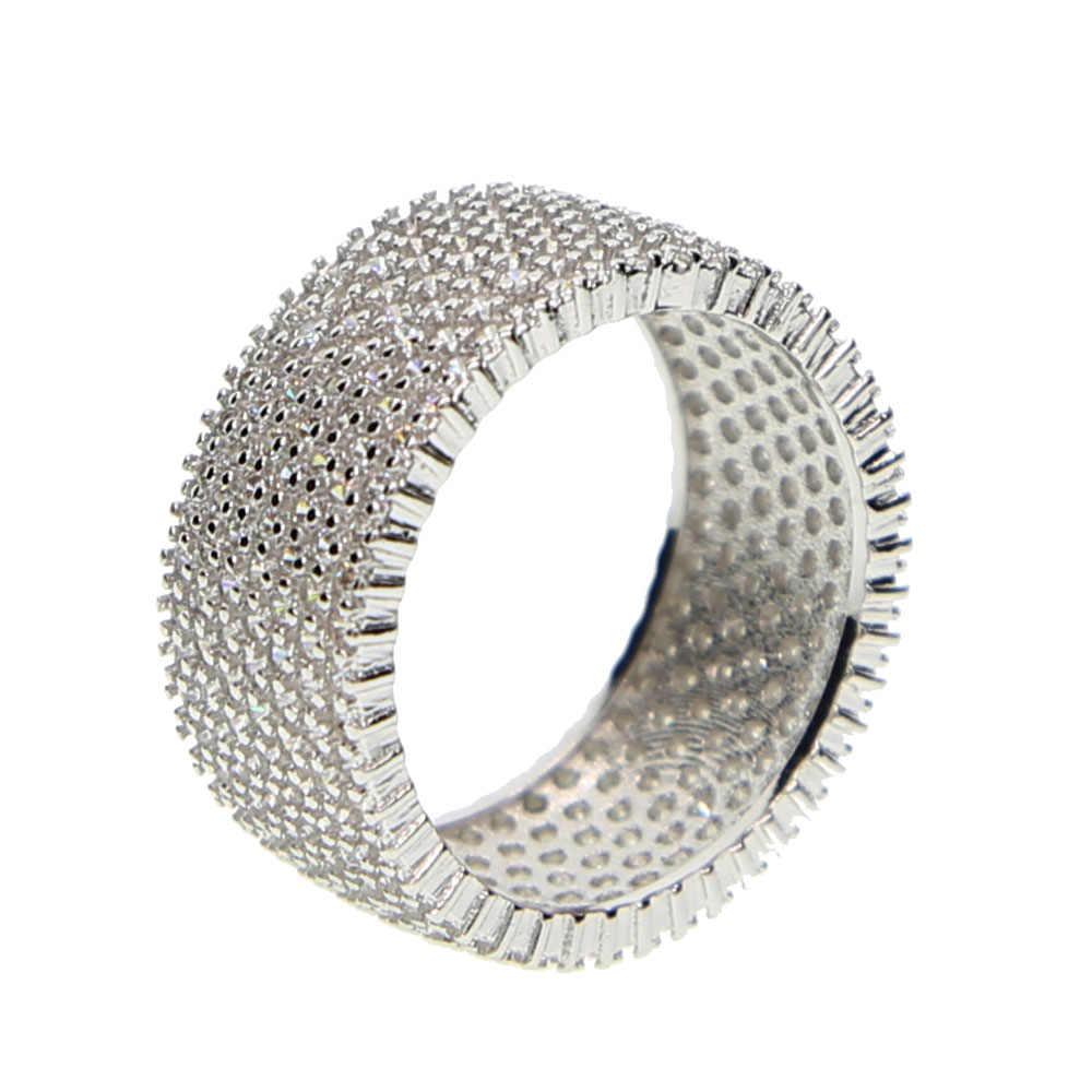Top qualité #8 9 10 11 plein micro pavé cz bracelet de fiançailles garçon hommes hip hop bling zircone mode bague en argent pour hommes