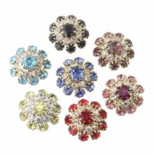 2018 Sale Rushed 17color 5pcs 23mm Gold /silver Rhinestones Shank Buttons Metal Diy Hairwedding Accessories Wedding Invitations