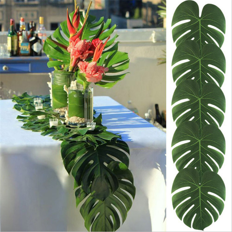 3Pcs 3size Tropical Palm Leaves Artificial LeavesTheme Party DIY Table Home Garden Baby Shower Party Suppies Wedding DecorationS