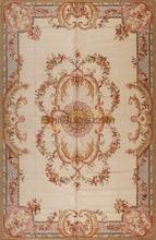 Vintage Hand Made francuski Savonnerie dywanik wełniany ciężki prezent dywan prostokątny dywan artystyczny naturalna wełna owcza tanie tanio Amerykański styl Domu Bedroom Handlowych Hotel Modlitwa Dekoracyjne Gabinet PLANT Rectangle 100 wełny AUBUSSON Ręcznie tkany