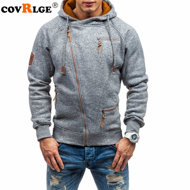 Covrlge Hoodies Men Autumn Casual Solid Zipper Long Sleeve Hoodie Sweatshirt Top Outwear Sudaderas Para Hombre MWW151